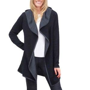 BNCI by Blanc Noir Hooded Wool Blend Cardigan M